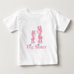 Big Sister Pink Giraffes Baby T-Shirt
