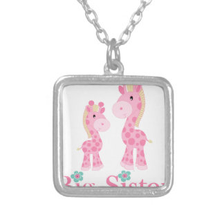 Big Sister Pink Giraffes Square Pendant Necklace