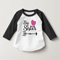 Big Sister Pink Heart Arrow Raglan T-Shirt