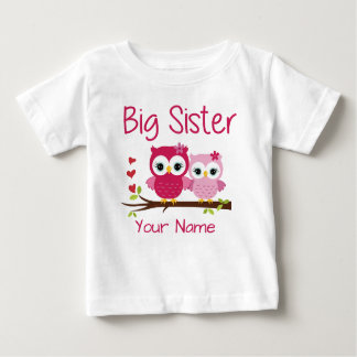 Big Sister Pink Owl Personalized T Shirt