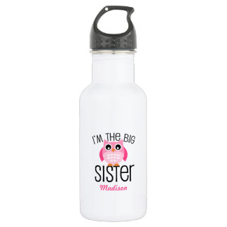 Big Sister Pink Owl Personalized Water Bottle