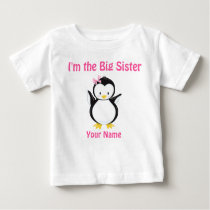 Big Sister Pink Penguin Personalized T Shirt