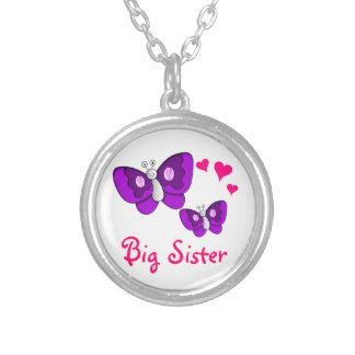Big Sister Purple Butterfly with Hearts Round Pendant Necklace