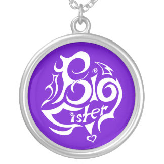 big sister purple silver plated necklace