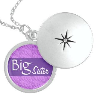 Big Sister Purple Zebra Print Custom Gift Idea Sterling Silver Necklace