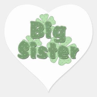 Big Sister Retro Flowers Green Heart Sticker
