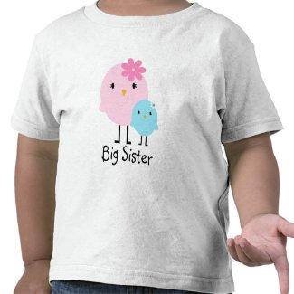 Big Sister Spring Birds Girls Tee