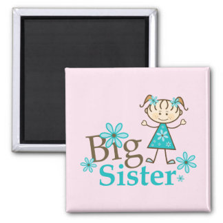 Big Sister Stick Figure 2 Inch Square Magnet