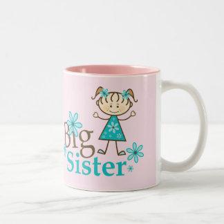 Big Sister Stick Figure Two-Tone Coffee Mug