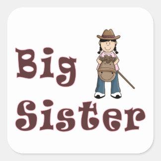 Big Sister Stick Horse Cowgirl Square Sticker