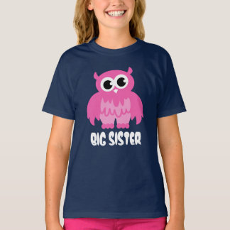 Big sister t shirt with funny owl cartoon in pink