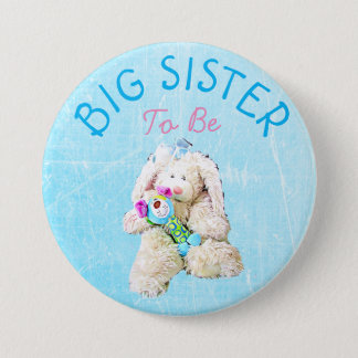 Big Sister to be Baby Cute Bunny Shower Button