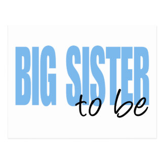 Big Sister To Be (Blue Block Font) Postcard
