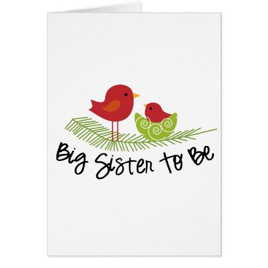 big sister to be christmas birdies card