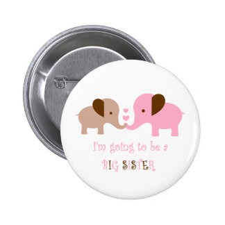 Big Sister To Be Elephants Pinback Button