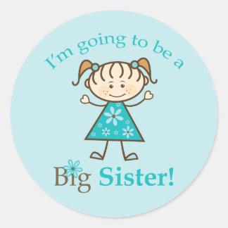 Big Sister To Be Stick Figure Classic Round Sticker