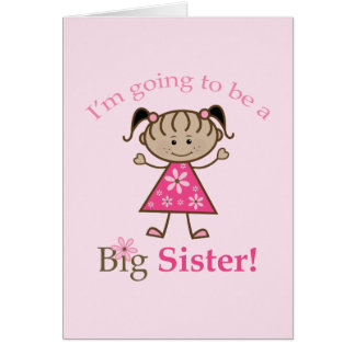 Big Sister To Be Stick Figure Girl Ethnic Card