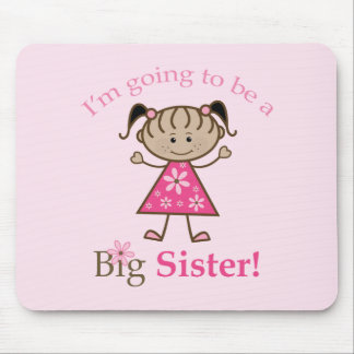 Big Sister To Be Stick Figure Girl Ethnic Mouse Mats
