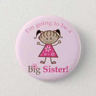 Big Sister To Be Stick Figure Girl Ethnic Pinback Button