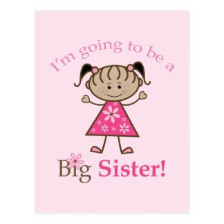 Big Sister To Be Stick Figure Girl Ethnic Postcard