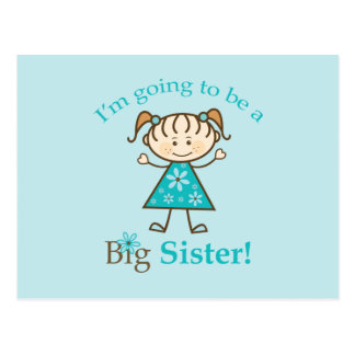 Big Sister To Be Stick Figure Postcard