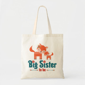 Big Sister to Be Woodland Foxes Tote Bag
