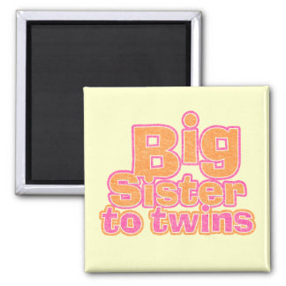 Big Sister to Twins 2 Inch Square Magnet