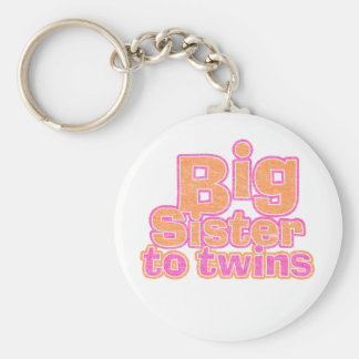 Big Sister to Twins Basic Round Button Keychain