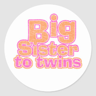 Big Sister to Twins Classic Round Sticker