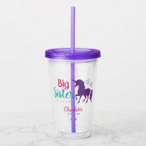 Big Sister Unicorn Silhouette Colorful Sibling Acrylic Tumbler