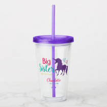 Big Sister Unicorn Silhouette Colorful Sibling Acrylic Tumbler