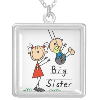 Big Sister with Little Brother Gifts Square Pendant Necklace