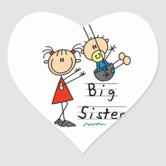 Big Sister with Little Brother Gifts Heart Sticker