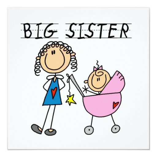 """Big Sister With Little Sister Gifts 5.25"""" Square Invitation Card"""