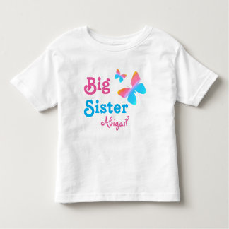 Big Sister with Name Butterfly Toddler T-shirt