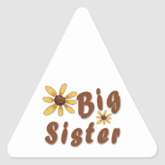 Big Sister Yellow Flower Brown Text Triangle Sticker