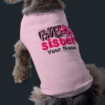 """Big Sister Zebra Personalized Dog T Shirt<br><div class=""""desc"""">Let your pet show off the fact she&#39;s going to be a big sister in a fun way with this personalized pink zebra print dog t shirt.</div>"""