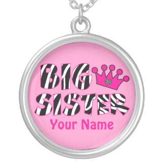 Big Sister Zebra Print Personalized Necklace