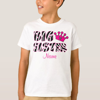 Big Sister Zebra Print Personalized Shirt
