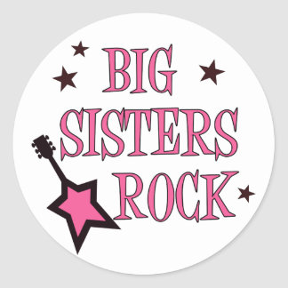 Big Sisters Rock Classic Round Sticker