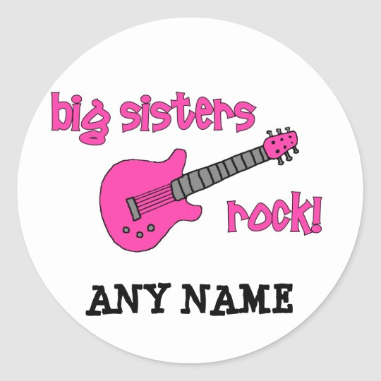 Big Sisters Rock! with Pink Guitar Classic Round Sticker