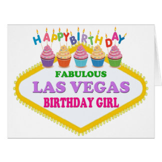 BIG SIZE HAPPY BIRTHDAY LAS VEGAS GIRL CARD