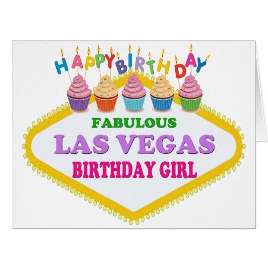 BIG SIZE HAPPY BIRTHDAY LAS VEGAS GIRL CARD