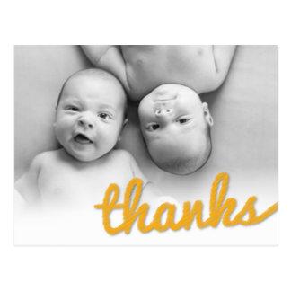 Big Sketch Baby Twins Birthday Thank You Photo Postcard