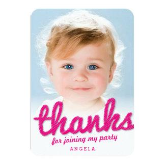 Big Sketch Girl Thank You 1st Birthday Photo Card