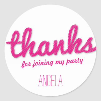 Big Sketch Girl Thank You Birthday Party Stickers