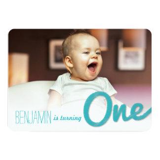 Big Sketch One Baby Boy First Birthday Party Cards