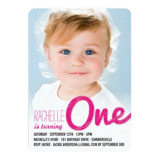 "Big Sketch One Baby Girl First Birthday Party 5"" X 7"" Invitation Card"