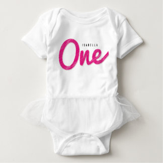 Big Sketch One Pink Baby Girl First Birthday Party Baby Bodysuit