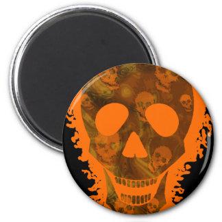 Big Skull Orange (close up) fridge magnet Magnets